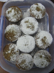 Chai tea cupcakes dusted with organic icing sugar.