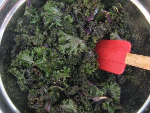 The making of a kale chip.