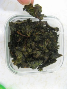 Kale chips freshly baked and dehydrated.