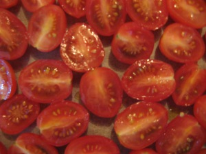 Grape tomatoes awaiting their sauna treatment. Photo by Kimberley (c)2013.