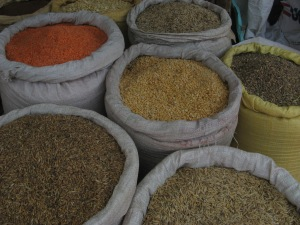 Lentils amidst the grains in an Ethiopian market. Photo by Kimberley (c)2013