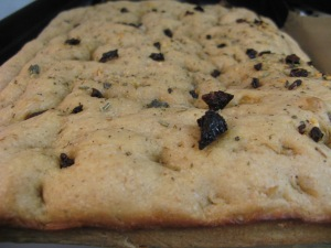 Herb, sun-dried tomato and garlic focaccia Photo by Kimberley (c)2014
