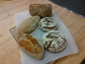 Oat loaf, potato rosemary round and whole grain batard Photo by Kimberley (c)2015